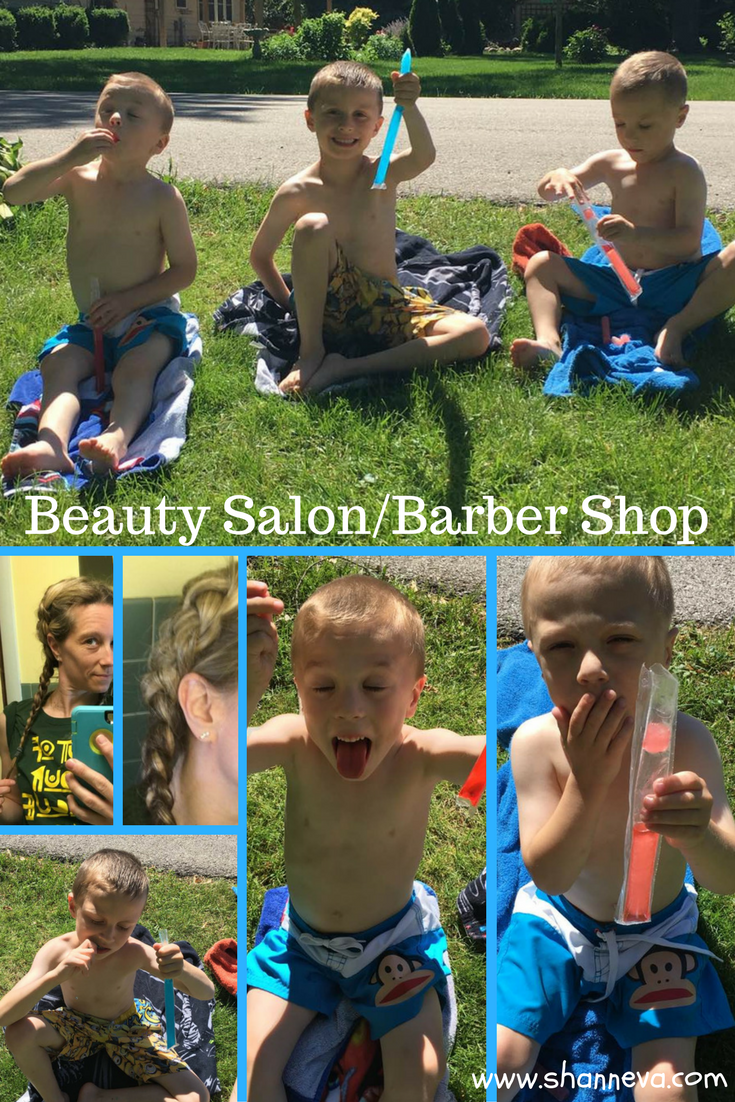 DIY beauty salon and barber shop for some free summer fun. Haircuts, manicures, pedicures, braiding, painting nails. Fun for boys and girls.