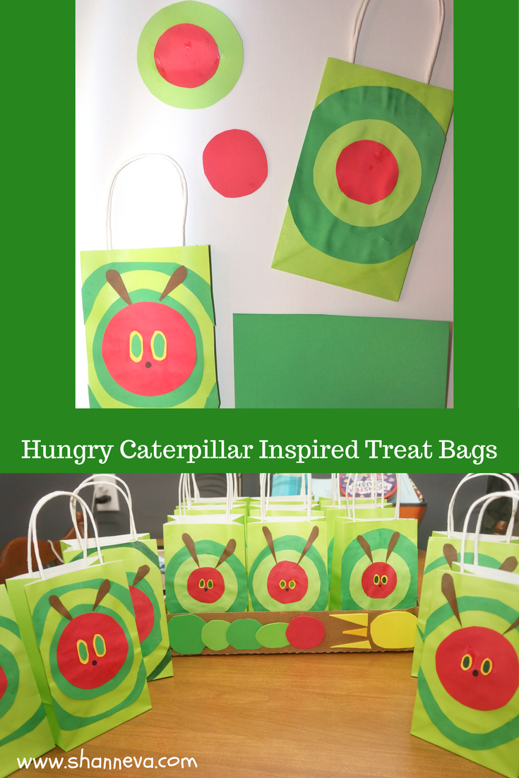 Very Hungry Caterpillar inspired treat, favor, and candy bags for very hungry caterpillar inspired theme party.