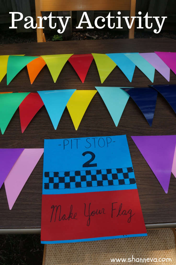twin boy party activity: make your flag to cheer on your race car