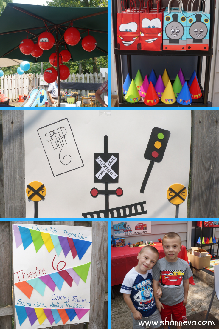 Twin Boy Party decorations with Thomas the Train and Lightning McQueen inspired designs