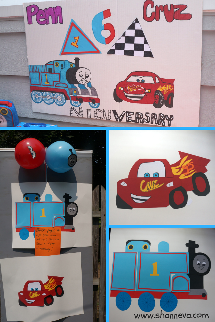 Twin boy party decorations #thomasthetraindecor #lightningmcqueendecor #boybirthdaypartydecor #partydecorations