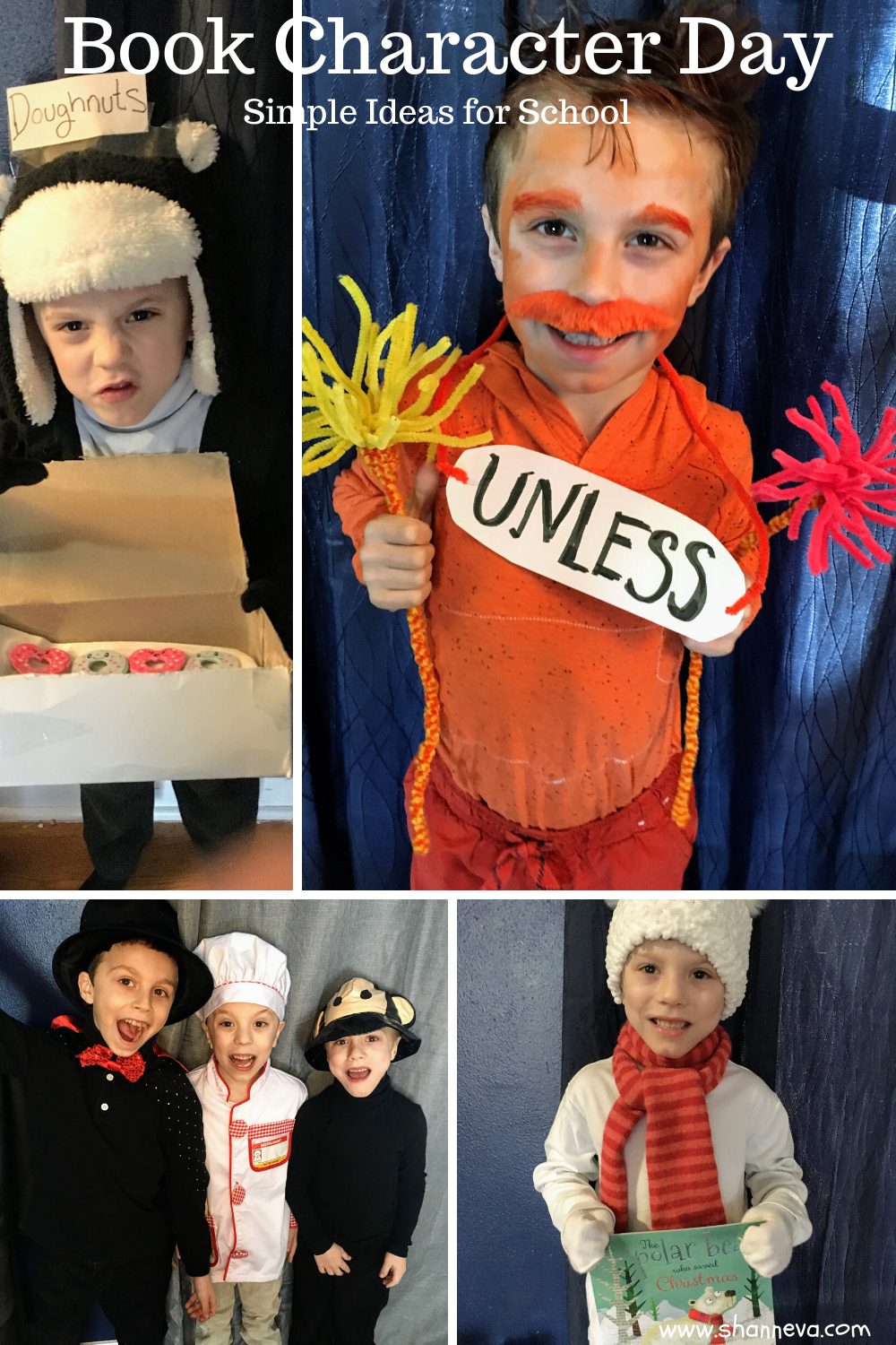 Simple costume ideas for Book Character Day. Easy dress-up solutions for any school spirit week or costume day.