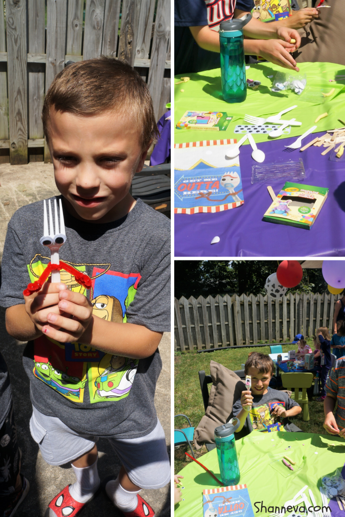 DIY Forky craft, friendship beads, and a pinata provide tons of fun and entertainment for your Toy Story Party
